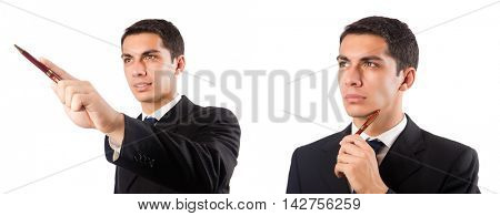Businessman pressing virtual buttons on white