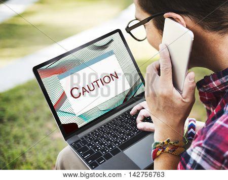 Error Halted System Disconnect Caution Concept