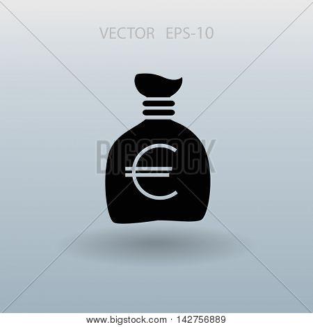 Flat long shadow Money bag icon, vector illustration