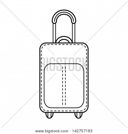 Suitcase isolated. Linear flat icon and object. Fashion accessory. Vector illustration