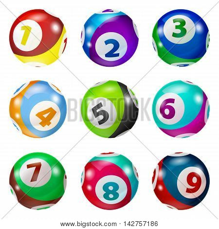 Vector Colorful Bingo. Lottery Number Balls. Colored balls isolated. Bingo ball. Bingo balls with numbers. Set of colored balls.