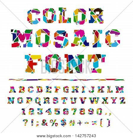 Colored font from the broken into fragments letters. Broken alphabet on a light background. Broken letters. Decorative alphabet. Stencil type. Full set