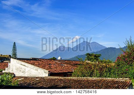 Fuego volcano & double-ridged Acatenango volcano outside Spanish colonial town & UNESCO World Heritage Site of Antigua, Guatemala, Central America