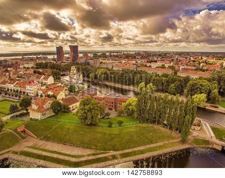 Klaipeda, Lithuania: representative aerial view of Old Town in the summer