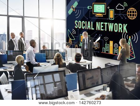Social Network Sharing Online Communication Concept