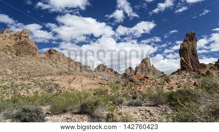 Panorama of Summit Canyon in the Kofa Mountains Wilderness in Yuma County near Quartzite Arizona.