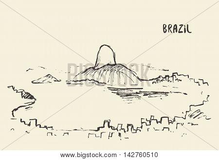 Sketch of Rio De Janeiro skyline, Brazil. Vector illustration