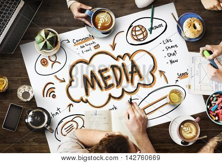 Online Network Connect Global Sharing Media Concept