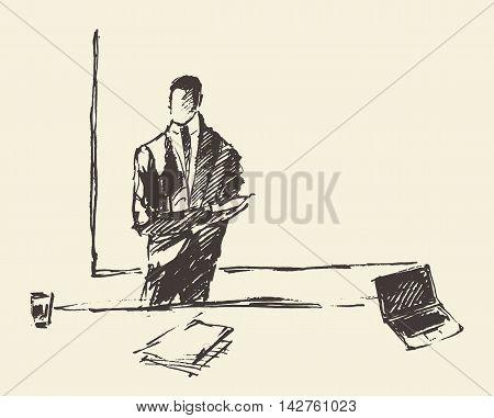 Businessman presenting copyspace. Concept vector illustration, sketch