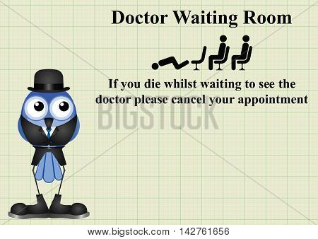 Comical doctor waiting room sign on graph paper background with copy space for own text