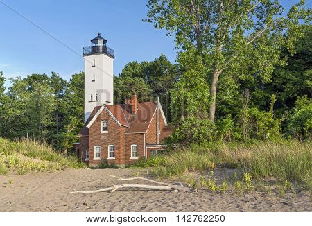 Built in 1872 the Presque Isle Lighthouse marks a large peninsula extending into Lake Erie at Erie Pennsylvania.