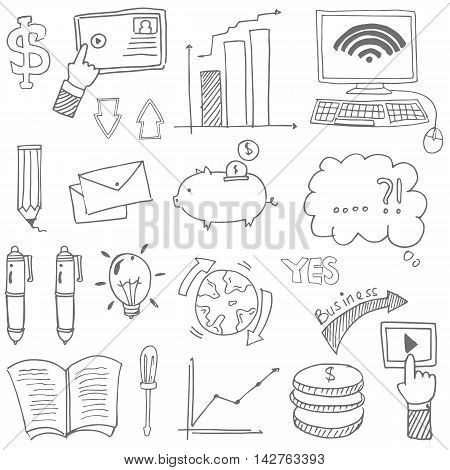 Doodle of business stock vector with hand draw