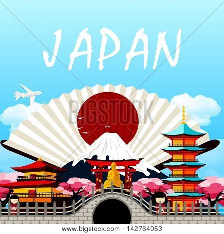 Illustration of Japan travel in Japanese upon the fan