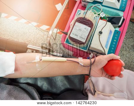 Close up of Blood donor in hospital.
