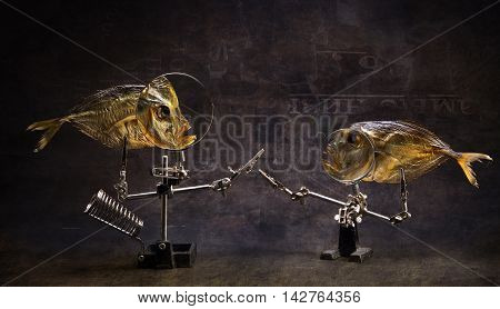 """Still life with a """"Dialogue"""" fish. Antique styling"""