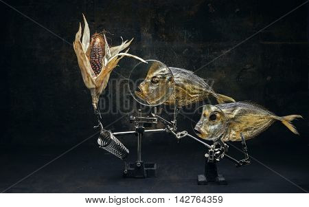 """Still life """"Fish and colored corn."""" Antique styling"""