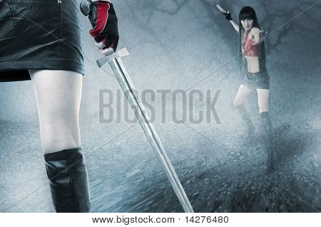 Fight Of Two Young Seductive Fit Woman In Mist
