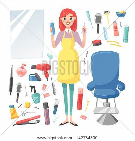 Cute girl hairdresser with hair clipper and hair brush portrait in full growth isolated on white. Professional stylish hairdresser barber girl hair cutting tools. client mirror glamour barber girl.