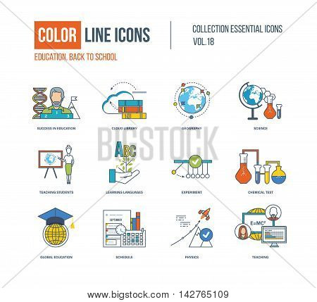 Color thin Line icons set. Back to school, success in education, science research, teaching student, learning languages, chemical test, shedule, global education. Colorful logo and pictograms
