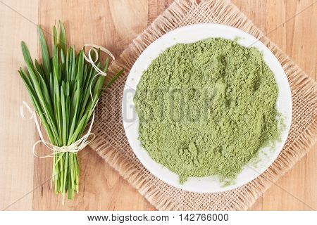 Barley Grass And Heap Of Young Powder Barley In Bowl, Body Detox