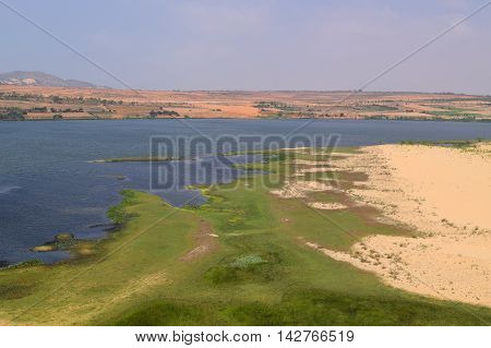Fresh Lake At White Sand Dunes In Mui Ne, Phan Thiet, Vietnam