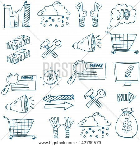 Doodle of hand draw business vector art stock collection