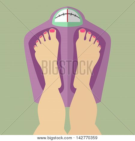 Female egs are in the balance weigh weight checks Caucasian