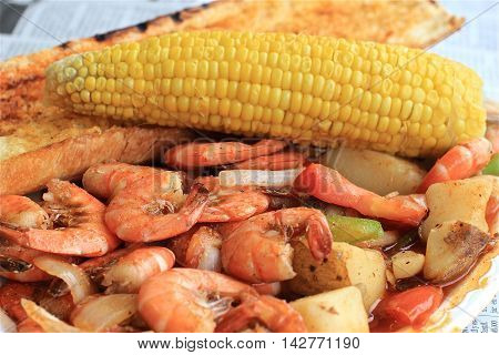 Shrimp and veggies corn garlic bread quality seafood redondo beach