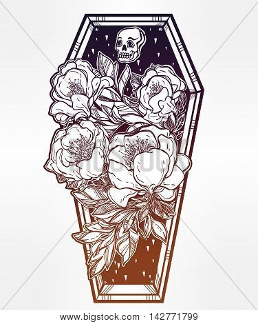Decorative coffin in flash tattoo style with dark romantic flowers and human skull. Vector illustration isolated. Adult coloring book page, spooky mystic magic symbol for your use. Retro inspired art.