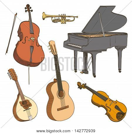 Set of hand drawn classical musical instruments. Cello violin guitar mandolin piano. Vector illustration