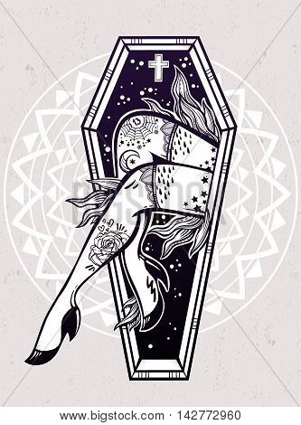 Decorative coffin in flash tattoo style with sexy zombie lady legs and flames. Vector illustration isolated. Pop art design, spooky mystic magic symbol for your use. Vintage and 1990's inspired art.