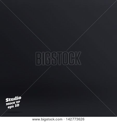 Vector ,empty Rich Color Style Of Dark Grey Studio Room Background ,template Mock Up For Display Of