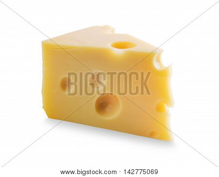 Piece of Cheese with holes isolated on white background