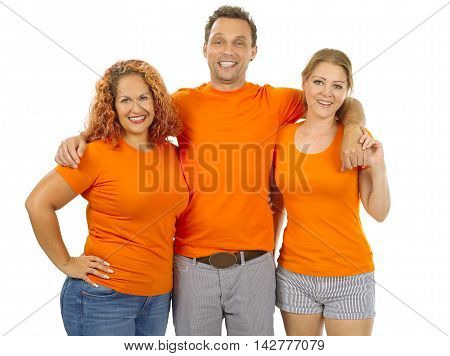 Photo of three people wearing orange blank t-shirts. Ready for your design or artwork.