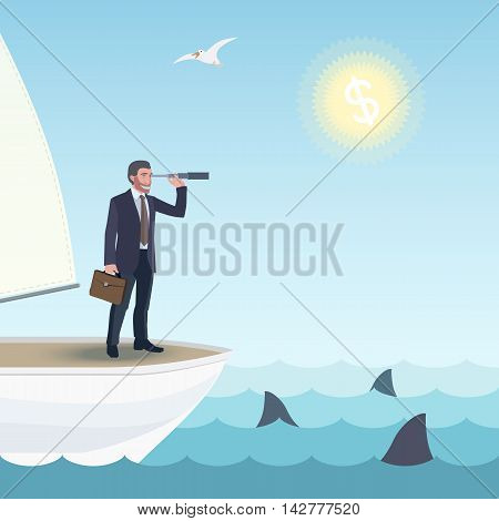 Business man standing on a ship and watching forward in a spyglass