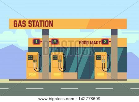 Gas filling station transport related service. Empty gas station on roadside, illustration of gas filling station with food shop