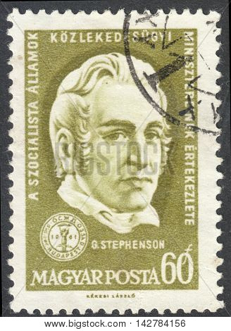 MOSCOW RUSSIA - CIRCA JUNE 2016: a post stamp printed in HUNGARY shows a portrait of George Stephenson the series