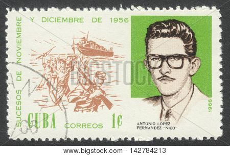 MOSCOW RUSSIA - CIRCA JULY 2016: a post stamp printed in CUBA shows A. L. Fernandez