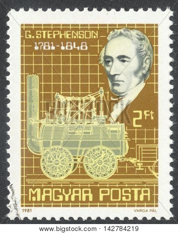 MOSCOW RUSSIA - CIRCA JUNE 2016: a post stamp printed in HUNGARY dedicated to the 200th Anniversary of the Birth of George Stephenson circa 1981