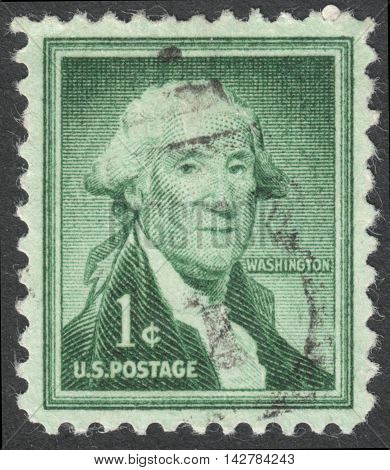 MOSCOW RUSSIA - CIRCA JULY 2016: a post stamp printed in the USA shows a portrait of George Washington the series