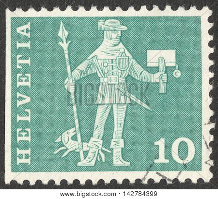 MOSCOW RUSSIA - CIRCA JUNE 2016: a post stamp printed in SWITZERLAND shows a knight circa 1960
