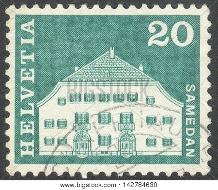 MOSCOW RUSSIA - CIRCA JUNE 2016: a post stamp printed in SWITZERLAND shows Planta House Samedan circa 1968