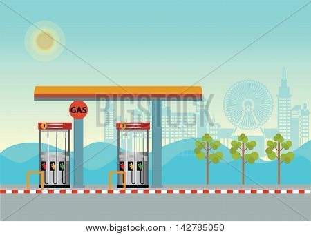 Gas petroleum petrol refill station cars Buildings cityscape and mountain background flat design vector illustration.