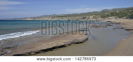Panorama of Lara Bay Turtle Beach Akamas Cyprus