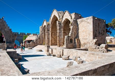 Church of the Virgin of the Burgh on July 1 2013. Greece Rhodes.