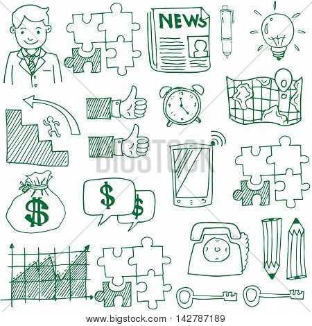 Doodle of business stock hand draw vector illustration