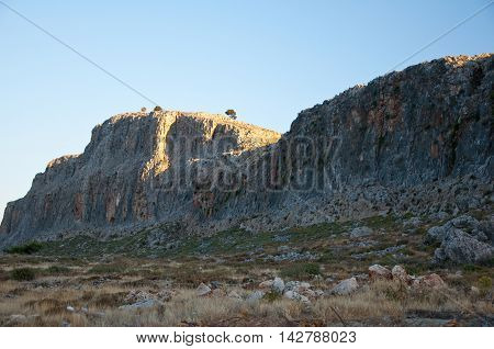 Mountains on Rhodes island Greece. In the centr island.