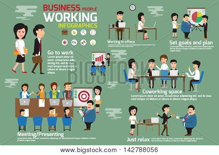 Business people working infographics elements. Story business man and woman working in office with many activities. meeting coworking presenting set goal and planing for success. vector illustration.