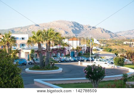 RHODES ISLAND GREECE- JULY 1: Overview of Mitsis Rhodos Village 5* hotel on July 1 2013. Rhodes Island Greece.