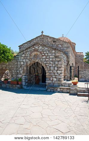 Moni Thari monastery Rhodes Greece. In the centr island.